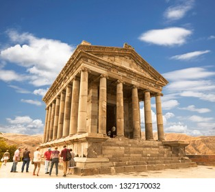 GARNI, ARMENIA - SEPTEMBER 22, 2018:Tourists near the Temple of Garni - a pagan temple in Armenia was built in the first century ad by the Armenian king Trdat