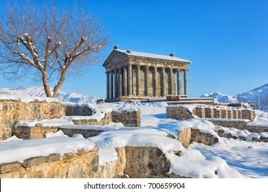 Garni Temple in Armenia, in sunny winter day