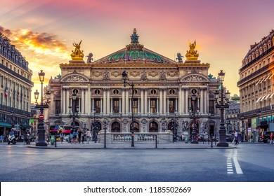 Garnier Palace in Paris, France.  Scenic skyline against sunset sky. Travel background.  - Shutterstock ID 1185502669