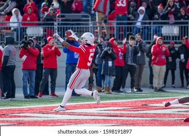 Garrett Wilson #5 - NCAA Division 1 Football University of Maryland Terrapins  Vs. Ohio State Buckeyes on November 11th 2019 at the Ohio State Stadium in Columbus, Ohio USA