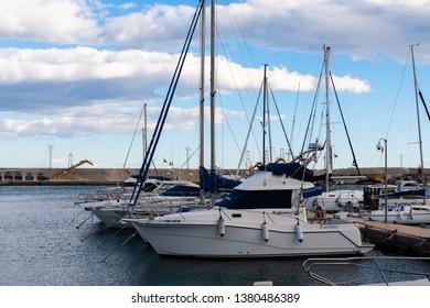 GARRUCHA, SPAIN - FEBRUARY 2, 2019   A beautiful marina with luxury yachts and motor boats in the tourist seaside town of Garrucha