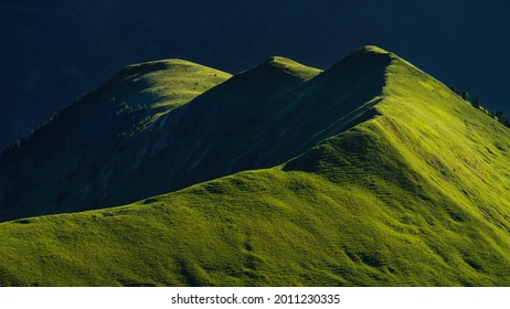 Gartner Berg at sunrise, with early morning light on grass fields on top of the mountain - Shutterstock ID 2011230335