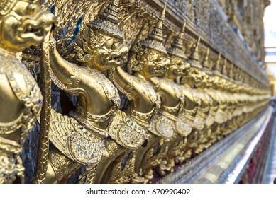 Garuda background at Wat Phra Kaew, Temple of Emerald Buddha in Bangkok, Thailand.