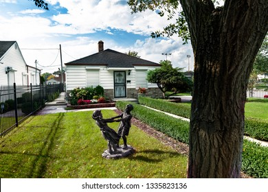 GARY, INDIANA - October 08, 2018: Exterior view of childhood home of pop star Michael Jackson in his hometown of Gary Indiana