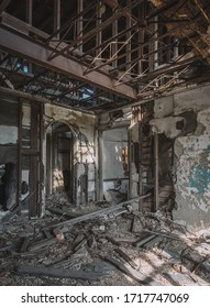 Gary, Indiana/USA - November 3, 2019: A burned, fire damaged floor inside the abandoned Mahencha Apartments building in Gary, Indiana