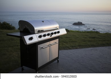 Gas Barbecue on Patio with Ocean in the Background