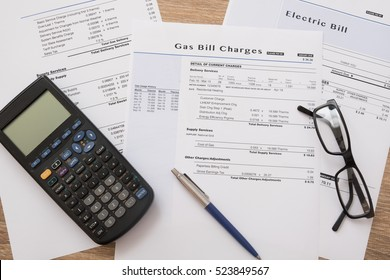 Gas bill charges paper form on the table