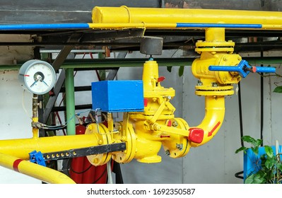 Gas boiler house equipment. Gas pipeline with safety gas valve.