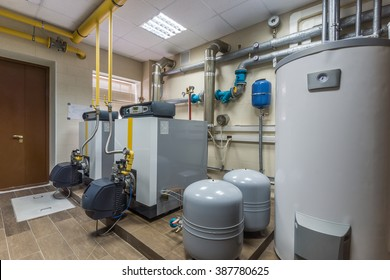 Gas boilers in gas boiler room.