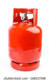 Gas bottle on isolated white background