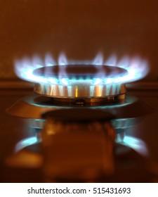 Gas burner in action