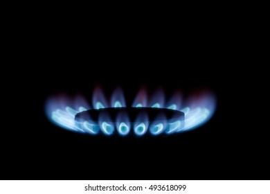 Gas burner with blue flames on black background