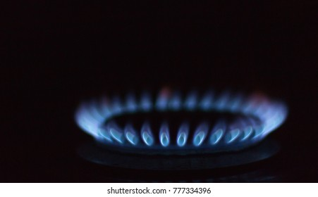 gas burner in the dark