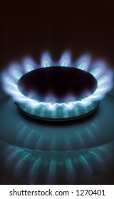 Gas burner in the dark (Vertical, place for text on top)