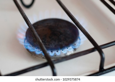 gas burner flame on the gas stove, gas consumption by the population