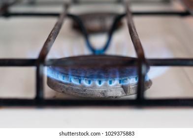 gas burner flame on a gas stove