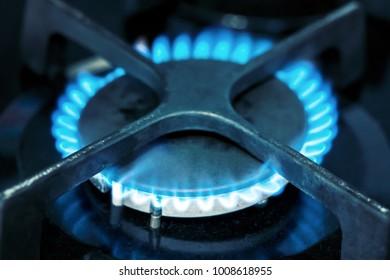 Gas burner flame at gas stove, close-up