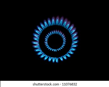 Gas burner flames view from the top isolated on black