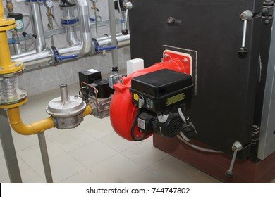 gas burner mounted in the fire-tube boiler