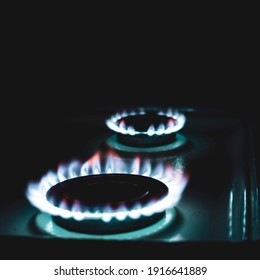 gas burner at night, blurred foreground and background with bokeh effect