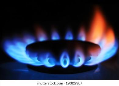 Gas burner on stove. Selective focus.