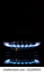 gas burners lit