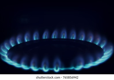 Gas burning in the burner over black background