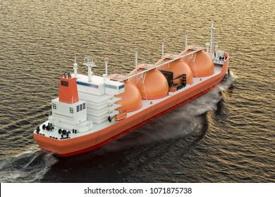 Gas carrier, gas tanker sailing in ocean. 3D rendering
