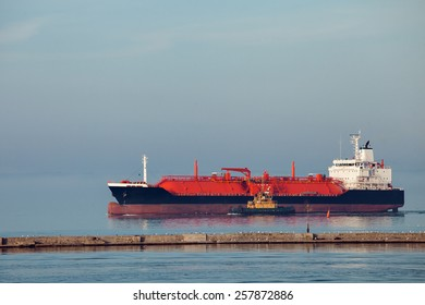 The gas carrier vessel coming into the port.