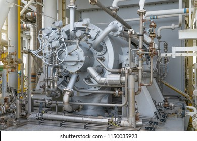 Gas compressor bundle on offshore oil and gas industry with piping and instrument system.