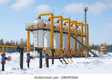 Gas compressor station on a Sunny day