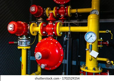 Gas control point. Pressure sensors on the pipes. Gas pressure regulator. Monometer on the pipeline. Gas distribution station. Gasification system. The use of mineral resources person. Heat supply
