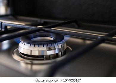 Gas cooker with lit blue flame. Example of supplies for home appliances of a modern kitchen. Image for gas supplies or kitchen items like stove or flame burner