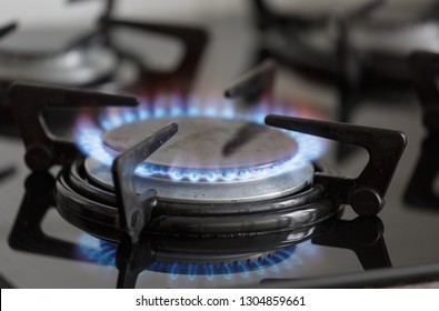 Gas cooking stove in a kitchen burning gas. These will disappear in Holland because of the energy transition.