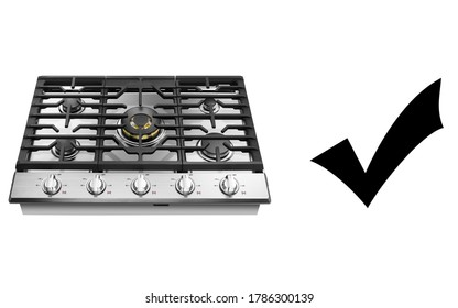 Gas Cooktop Isolated on White Background. Kitchen Stove Top View. Stainless Steel Gas Hob. Built-in-Hobs. Gas Range Cooker with Five-Burner Cooktop. Five Burner Gas Hob. Domestic Major Appliances