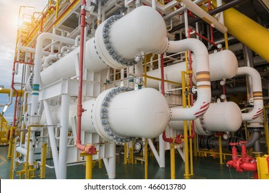 Gas cooler at oil and gas central processing platform, Heat exchanger shell and tube type.