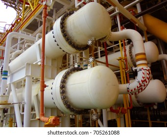 Gas cooler at oil and gas central processing platform, Heat exchanger shell and tube type to cooling hot gas by heat transfer wit cooling water.Asia august 2017
