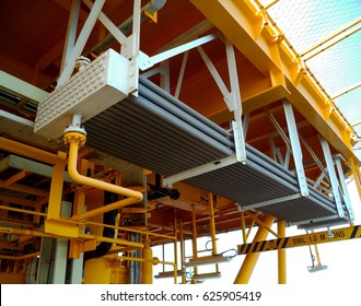 Gas cooler at oil and gas wellhead platform processing platform,
