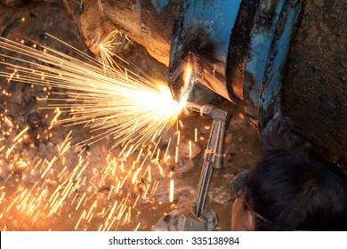 Gas cutter, steel water pipe