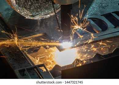 The gas cutting machine control by CNC program. The sheet metal manufacturing process by laser cutting machine.