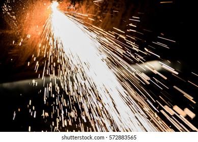 Gas cutting sparkles