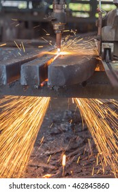 Gas cutting steel and fire sparks, Background of industry steel.