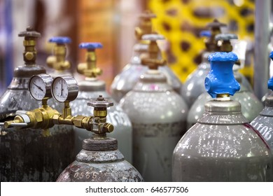 Gas cylinders used welding Industrial in factory.