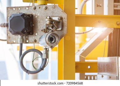 Gas detector line of sight type install at offshore oil and gas processing platform near hazardous area to monitor and detect any gas leak for safety.