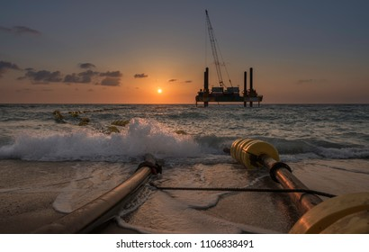Gas drilling rig platform in Mediterranean sea, Israel. Ashkelon.