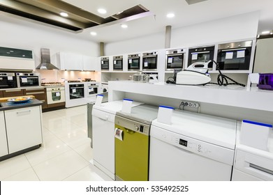 Gas and electric ovens, stoves and other appliance or equipment in the retail store showroom