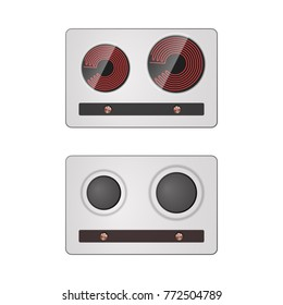 Gas and electric stove. Kitchen equipment illustration.