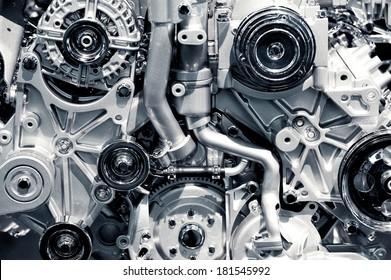Gas Engine Closeup Background Photo. Car Engine.