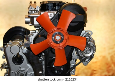 Gas engine fan red cooling fan