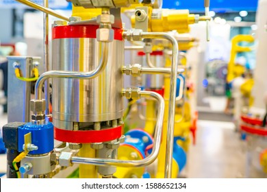 Gas equipment. Boiler room at the enterprise. Autonomous boiler station. Compressor station. Gasification. Fragment of the pipeline. Engineering Communication. Chrome parts on yellow pipes
